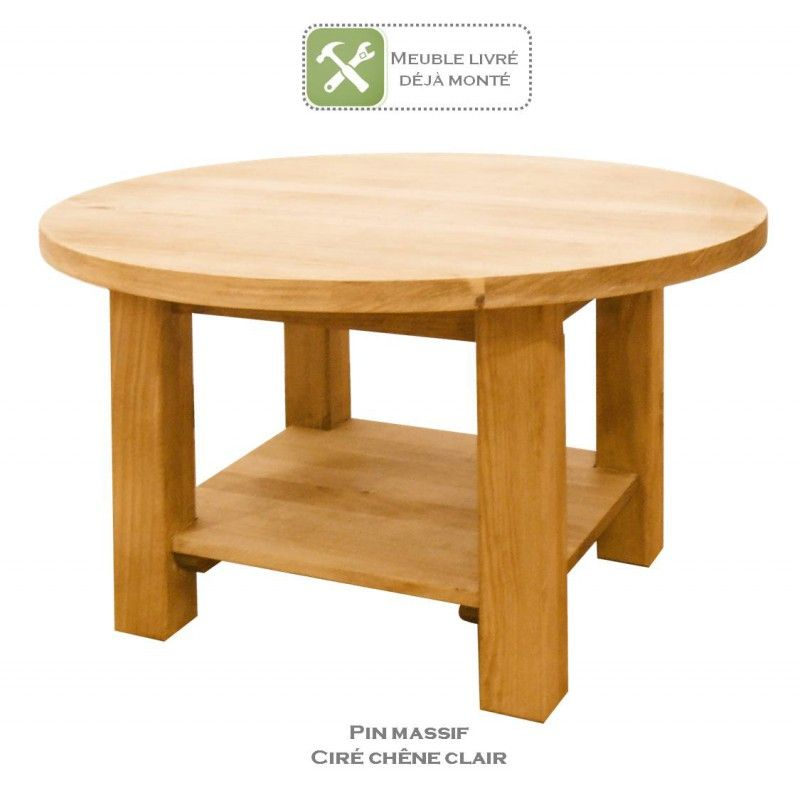 Table Basse Ronde En Pin Massif Derevo