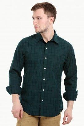 fdae9401da3 Men's Long Sleeve Forest Green Check Shirt