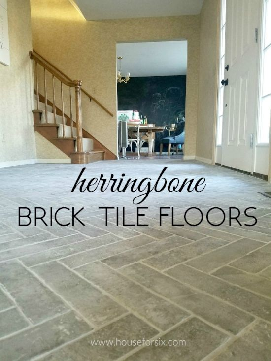 Entry Progress Herringbone Brick Tile Floors Brick