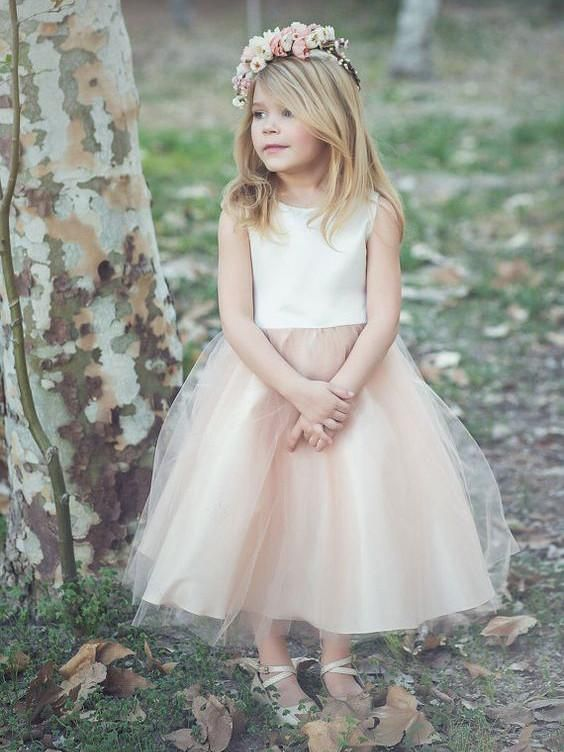 85c6a672c98 2017 Flower Girl Dresses Ivory and Champagne Bowknot Satin and Tulle JKF009