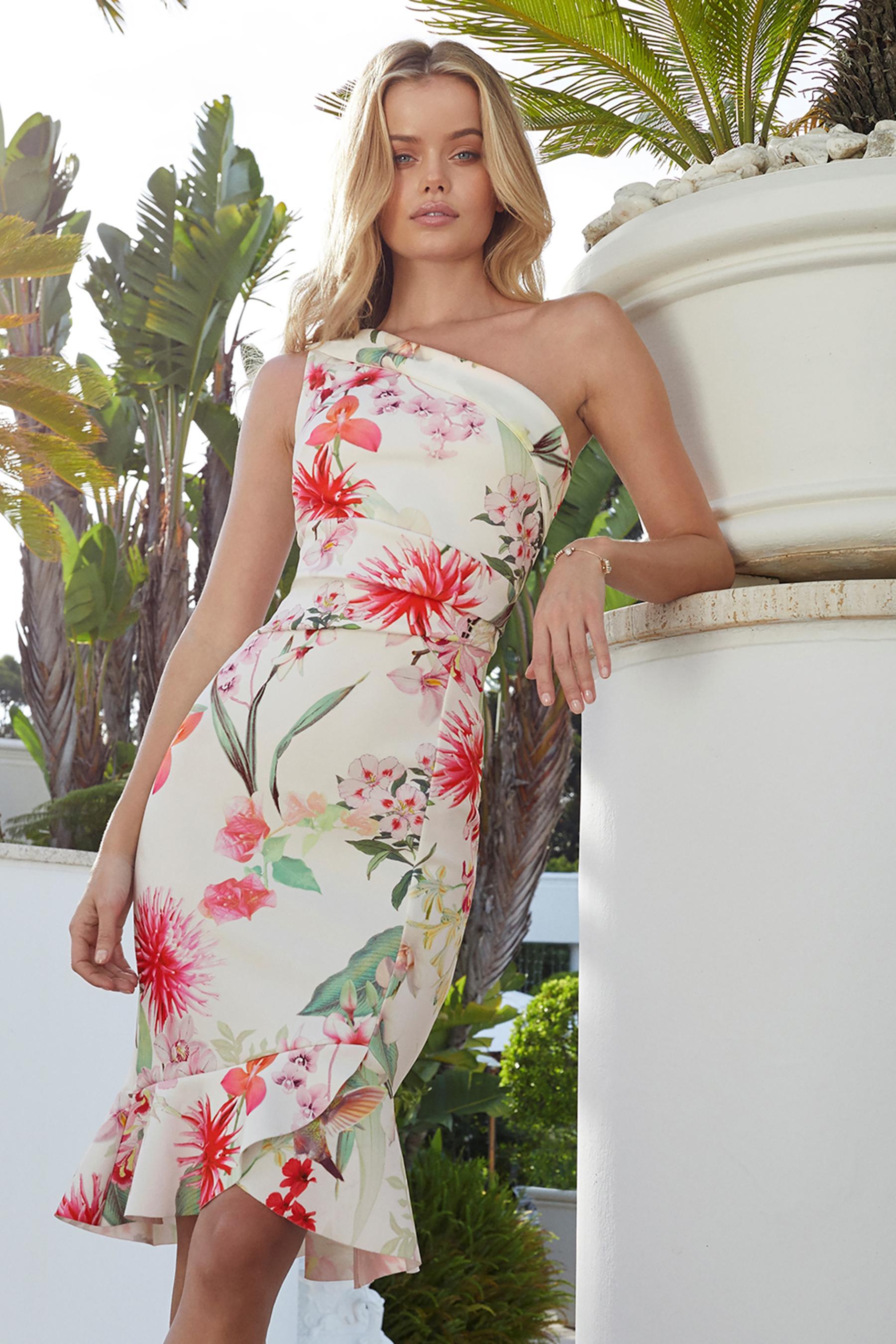 d6a3988eb5 Womens Lipsy Amy Print One Shoulder Flute Hem Bodycon Dress - White ...