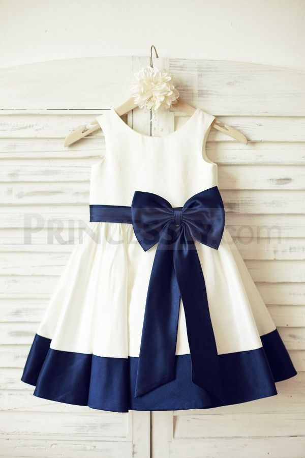c6a7d7cf163e Ivory Satin Flower Girl Dress with navy blue belt bow