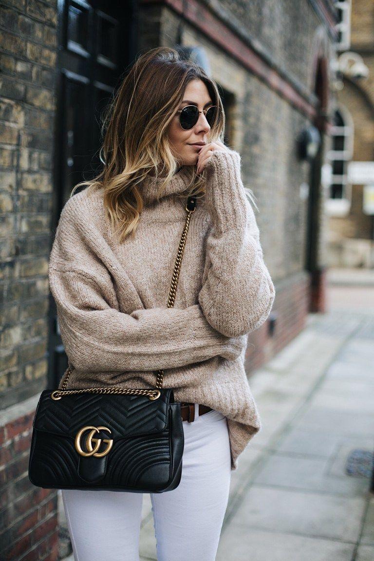 40b9bc9628e143 Beige knit, Tan Gucci marmot GG belt, Black leather medium Gucci Marmont bag,  white skinny jeans