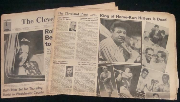 The Cleveland Press Babe Ruth Is Dead Newspaper Ruth Signed By
