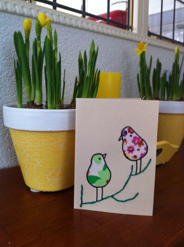 Birds on branch- card