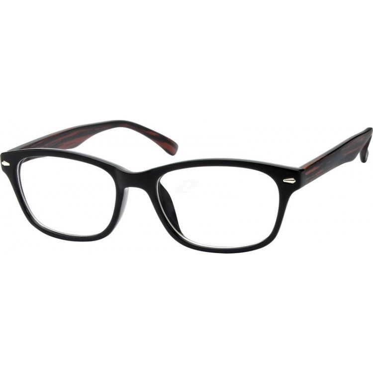 756fc857ea4f A stylish full-rim plastic frame. With wood imitation temples and shiny  silver ornament design in the front.