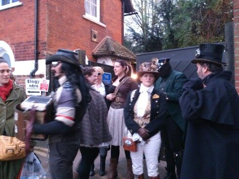 The Steampunk Morris family getting ready to dance...