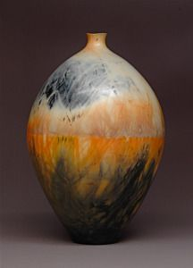 Judy Blake. Saggar-fired vessel, 2012. White earthenware fired with sawdust, shavings , and metallic soaked straw, 40 cm x 27.5 cm. http://www.judyblake.ca/