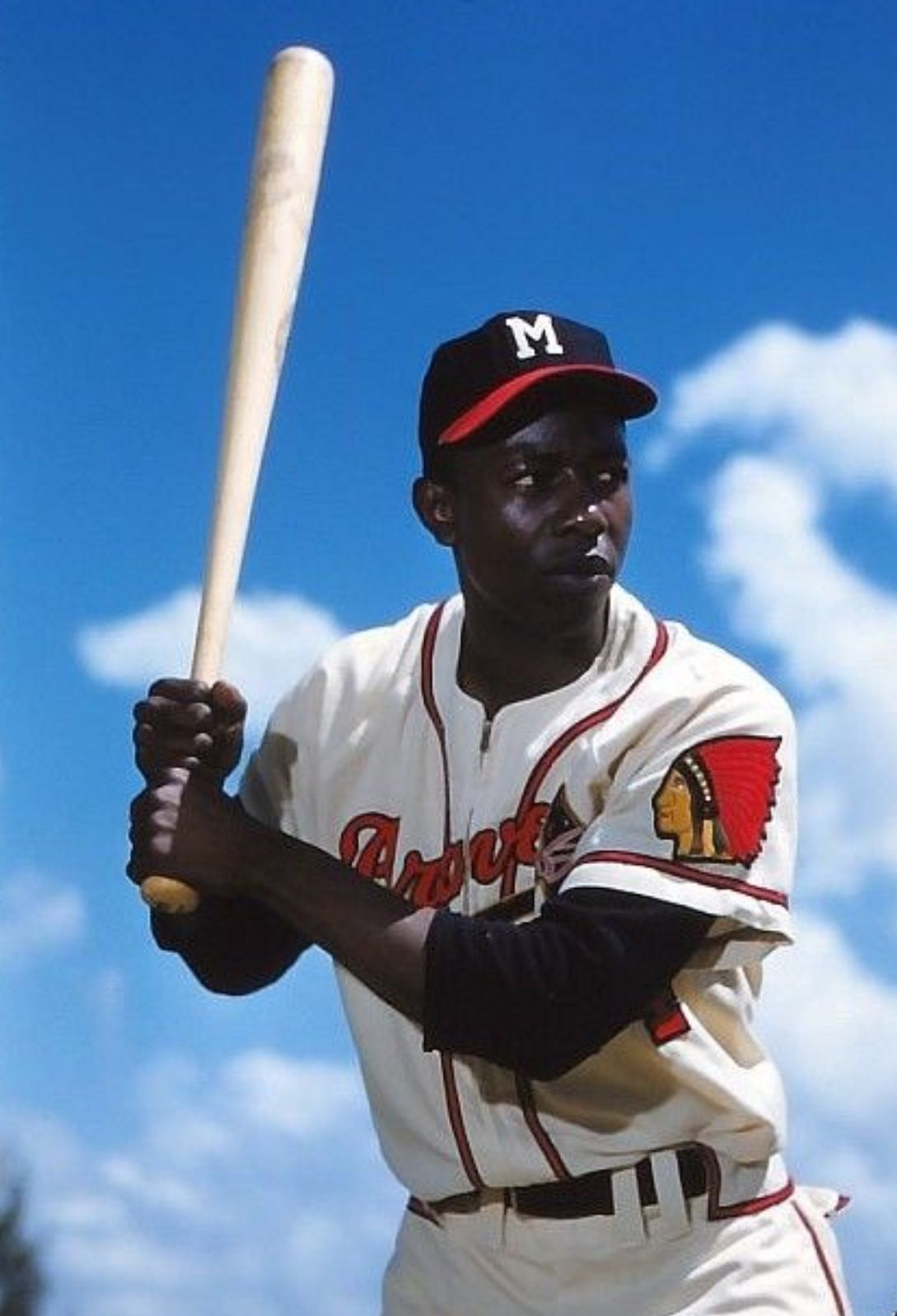 Hank Aaron, back when he was with the Milwaukee Braves.