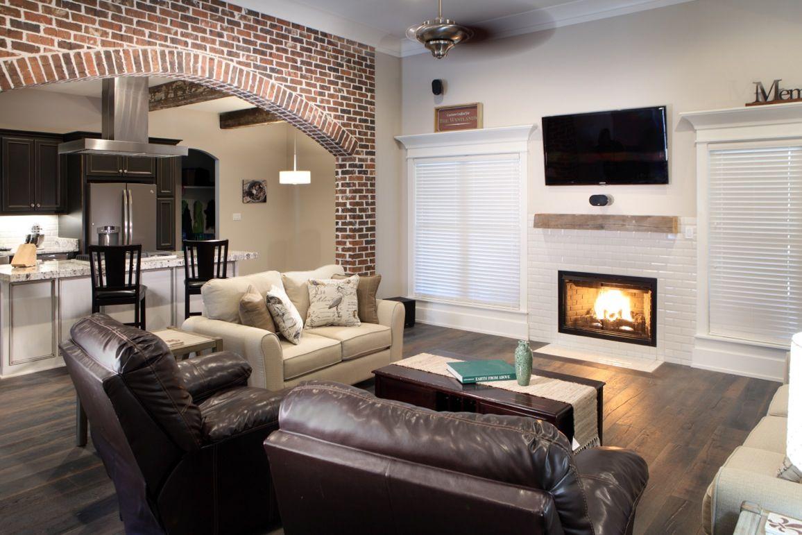 Living Room - brick arch, 7 1/4 Russian oak wood floors ...