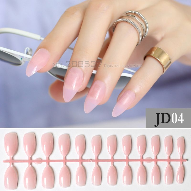 New Transparent powder Full Nail Comfortable Artificial Pointed Pink ...