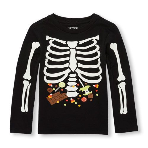 ddae45d7 s Toddler Boys Long Sleeve Glow-In-The-Dark Halloween Candy Ribs Graphic Tee  - Black T-Shirt - The Children's Place