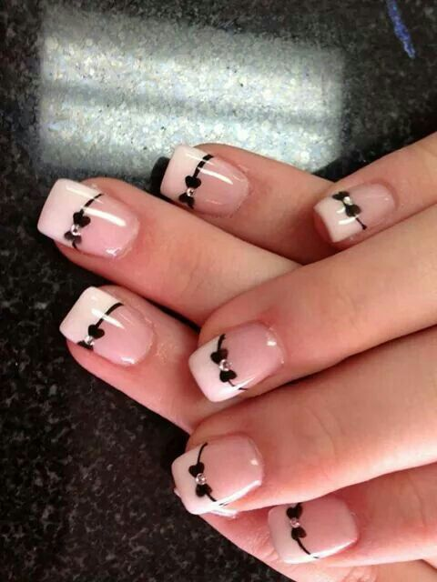 Bow Tie Nail Art Sweet 15 Nails Quinceanera Ideas French