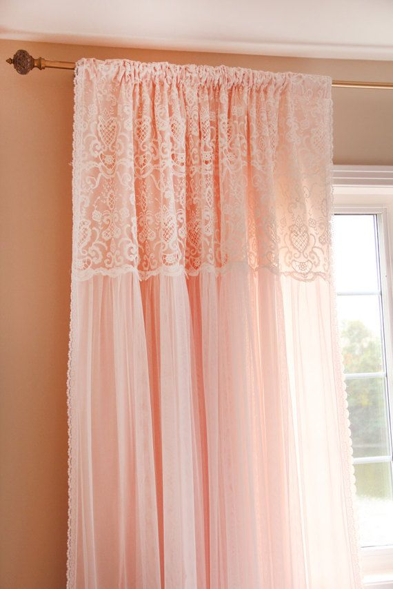 Peach Apricot Pink White Ruffle Embroidery Lace Overlay Ruching Luxury Tulle Sheer Shabby Chic Cotta Shabby Chic
