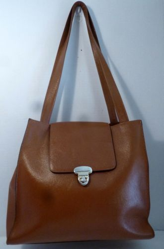 Fiori Vintage 80 S Tan Leather Tote Style Shoulder Handbag Purse