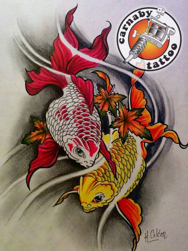 tattoo dessin poissons carpe koi origami koi tattoos et tattoo designs. Black Bedroom Furniture Sets. Home Design Ideas