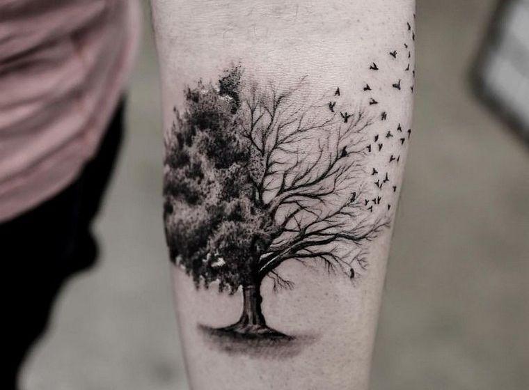tatouage arbre pin laurier ch ne bouleau olivier pinterest tatouages id e. Black Bedroom Furniture Sets. Home Design Ideas