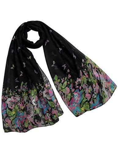 Butterfly Flower Garden Sheer Long Scarf Shawl - Black ** Check out this great image @