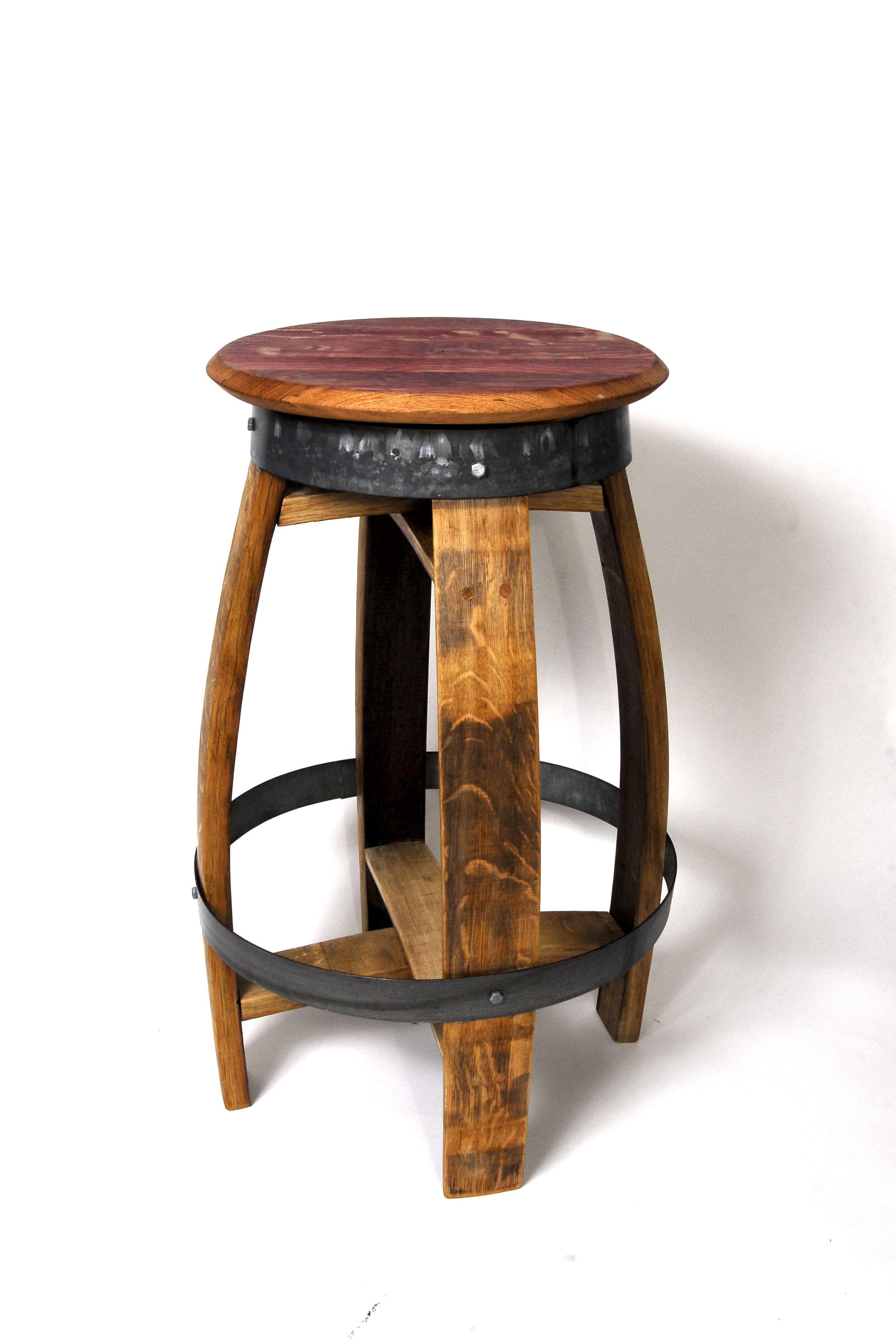 Custom Made Rustic Swiveling Wine Barrel Barstools