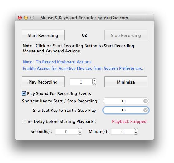 Main Screen of Macro Recorder for Mac Macro recorder