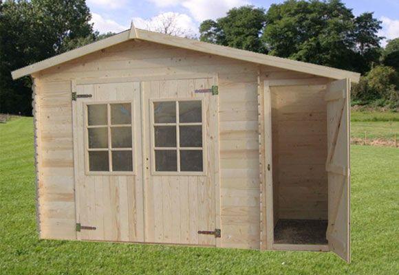 Abri de jardin bois emboité 280x195 5,46m² ep 19mm +Remise ...