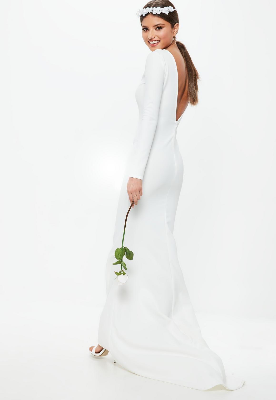 Missguided Bridal White Long Sleeve Open Back Fishtail Dress Affordable Wedding Dresses Inexpensive Bridesmaid Dresses Affordable Bridesmaid Dresses