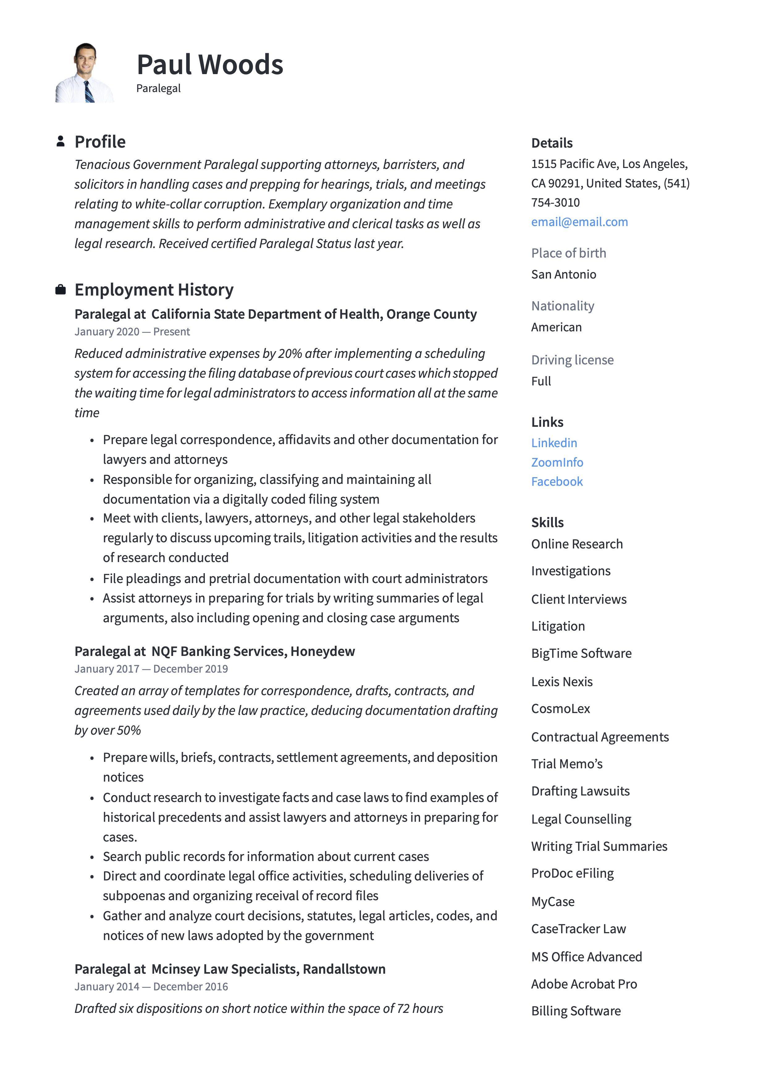 22+ Paralegal resume skills samples ideas
