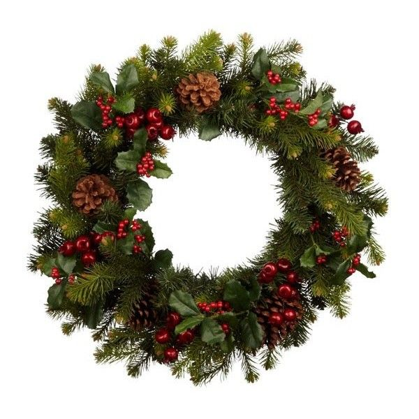 9a33555cfeb6 Premium red berry wreath from John Lewis ❤ liked on Polyvore featuring  christmas