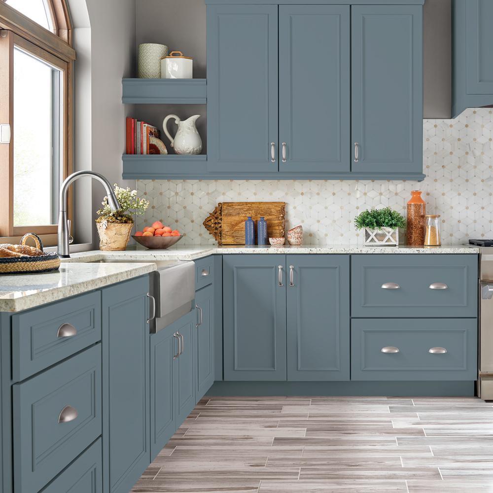 Behr Premium 1 Gal N480 5 Adirondack Blue Semi Gloss Enamel Interior Cabinet And Trim Paint 712301 Th In 2020 Green Kitchen Cabinets Kitchen Design Kitchen Remodel