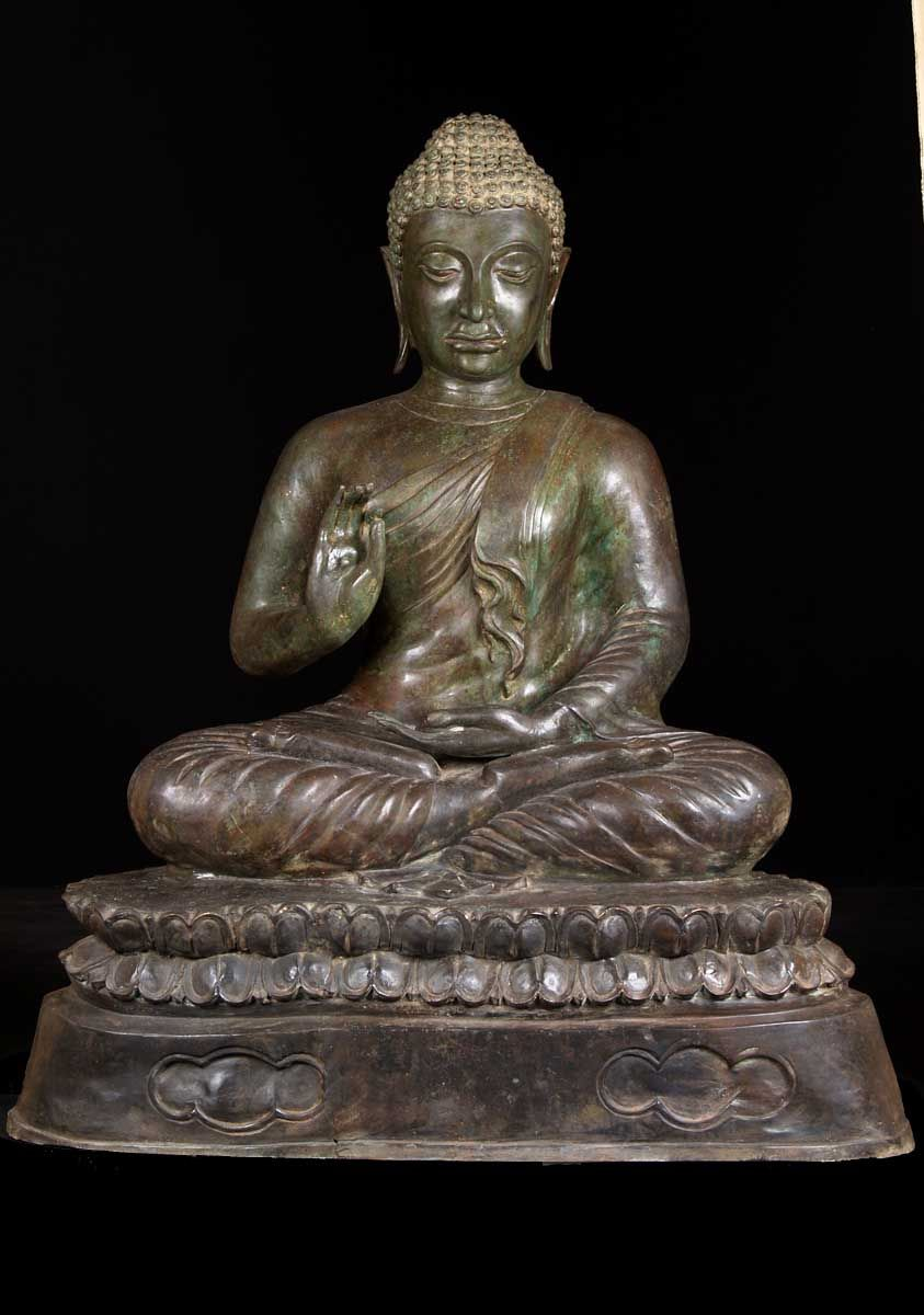 View the Thai Brass Khmer Buddha Statue 46""