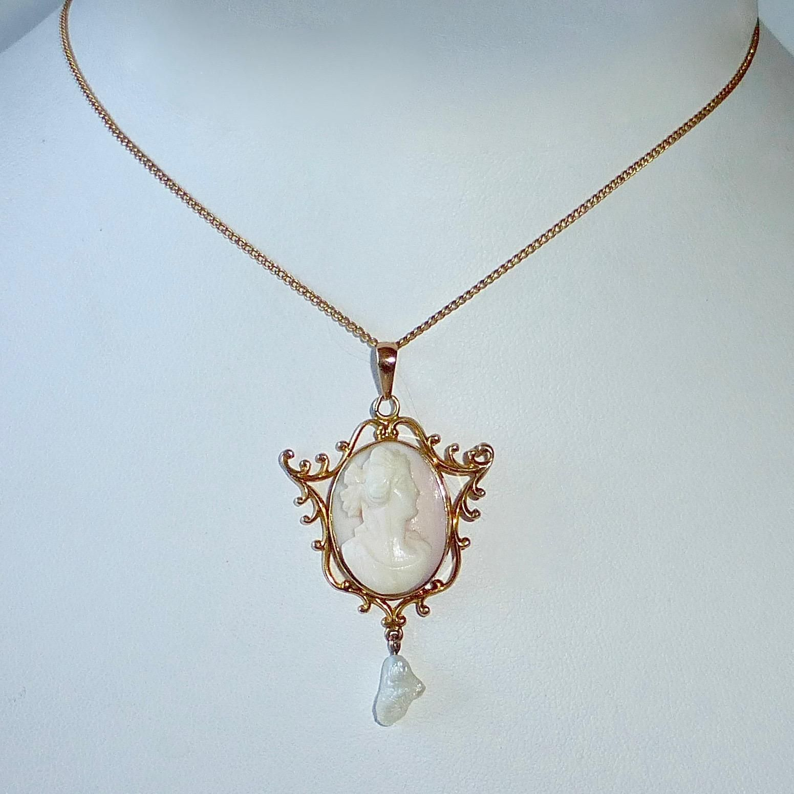 10k Edwardian Necklace Handcarved Rosalyn Shell Cameo