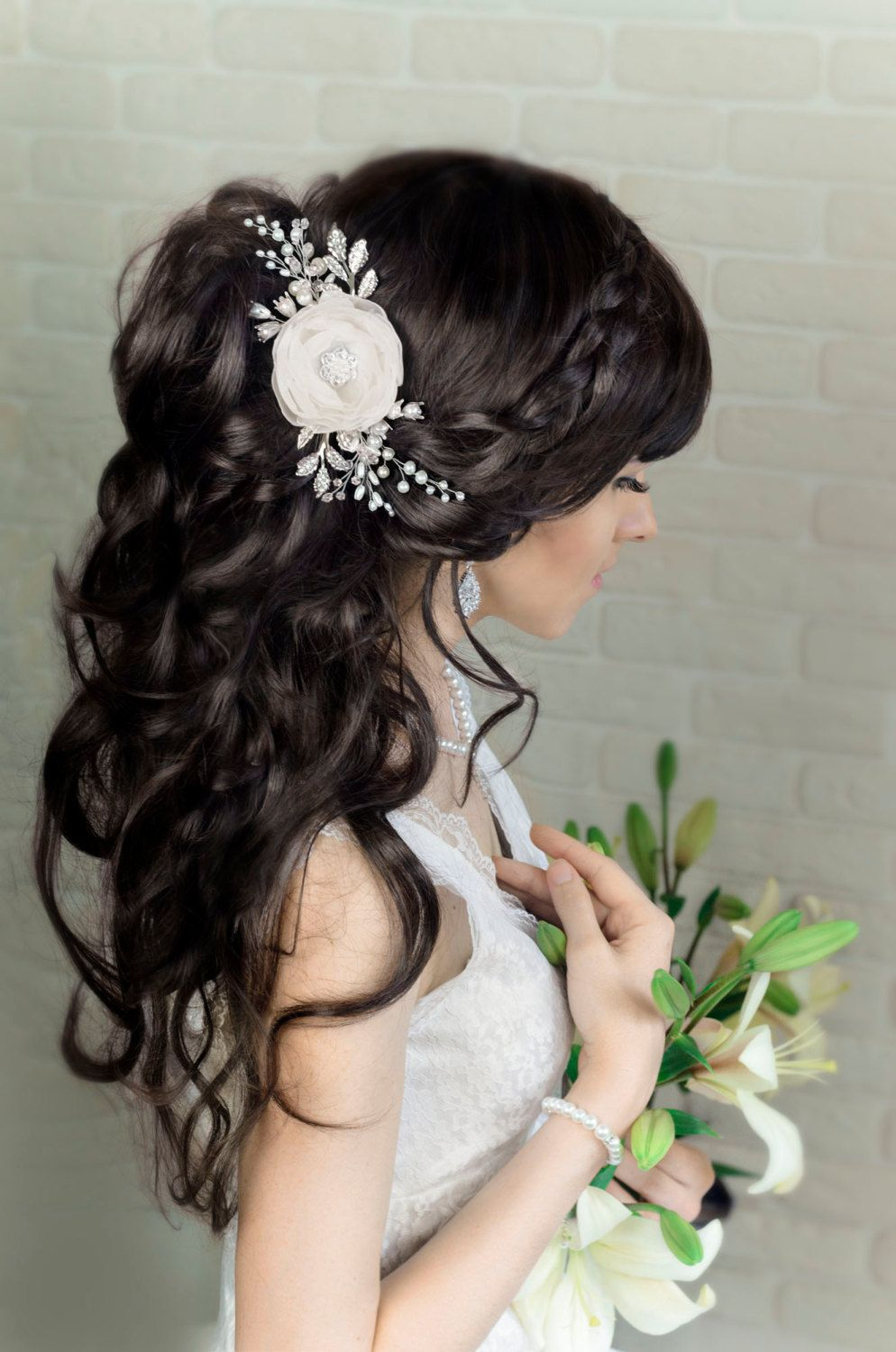 ivory white floral bridal hair comb wedding hair flower headpiece