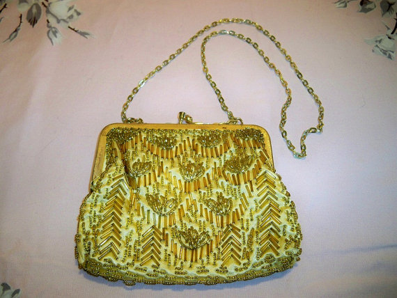 SALE! Vintage 1960s Gold Beaded Evening Bag Purse