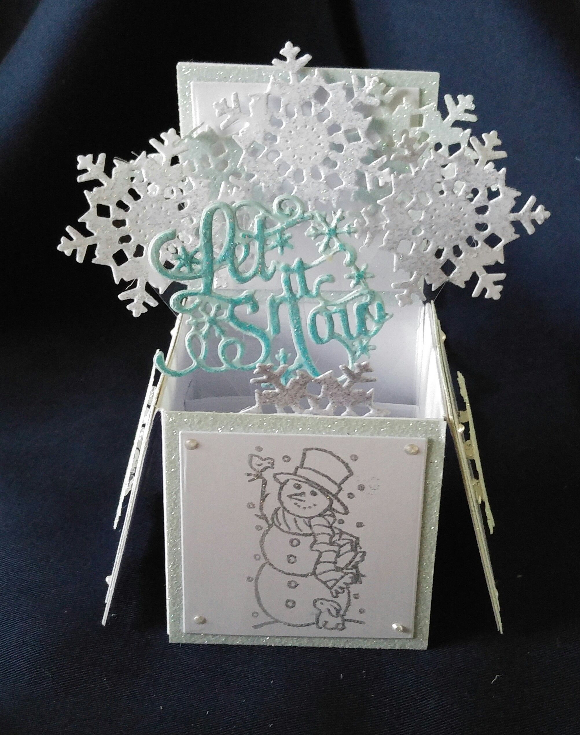 Tattered Lace Pop Up Box Card Snowman and Snowflakes