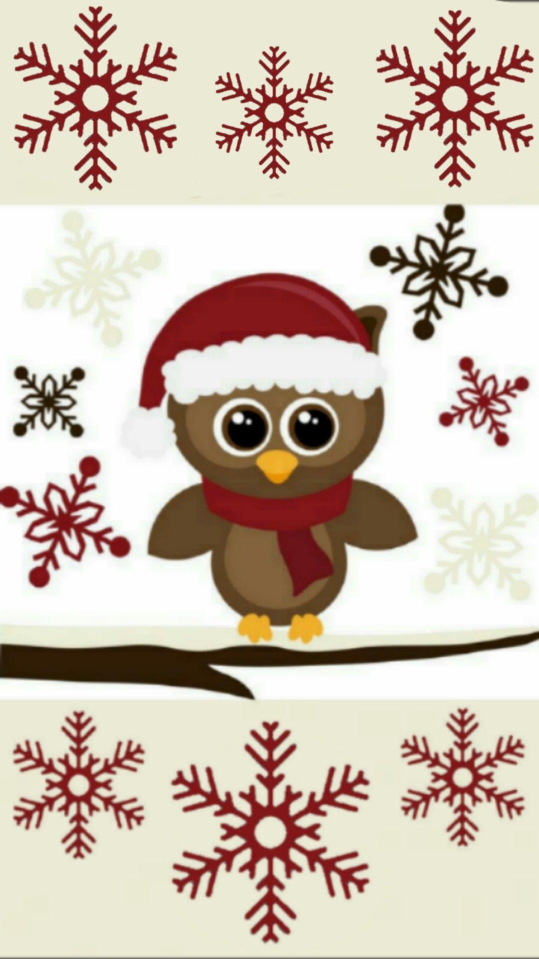 Pin By Rena Wright Nae On Cute Navidad Christmas Owls Owl Wallpaper Christmas Paintings