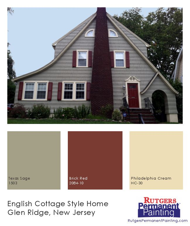Rutgers Permanent Painting English Cottage Style In Glen Ridge Colors Texas Sage 1503 Brick