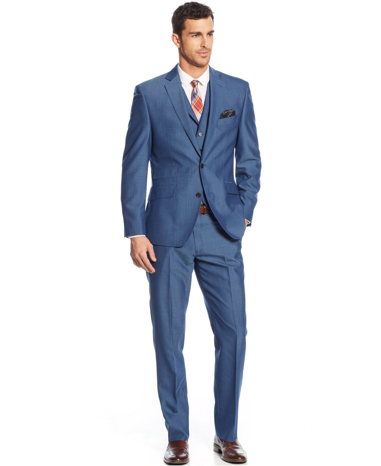 Tallia Modern Blue Solid Sharkskin Vested Slim-Fit Suit - Suits ...