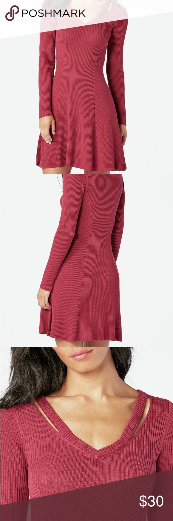 a74d02dc352 NWT Cutout Fit and Flare Sweater Dress Dark pink fit and flare sweater dress  with cutout shoulder details and long sleeves by JustFab JustFab Dresses  Mini