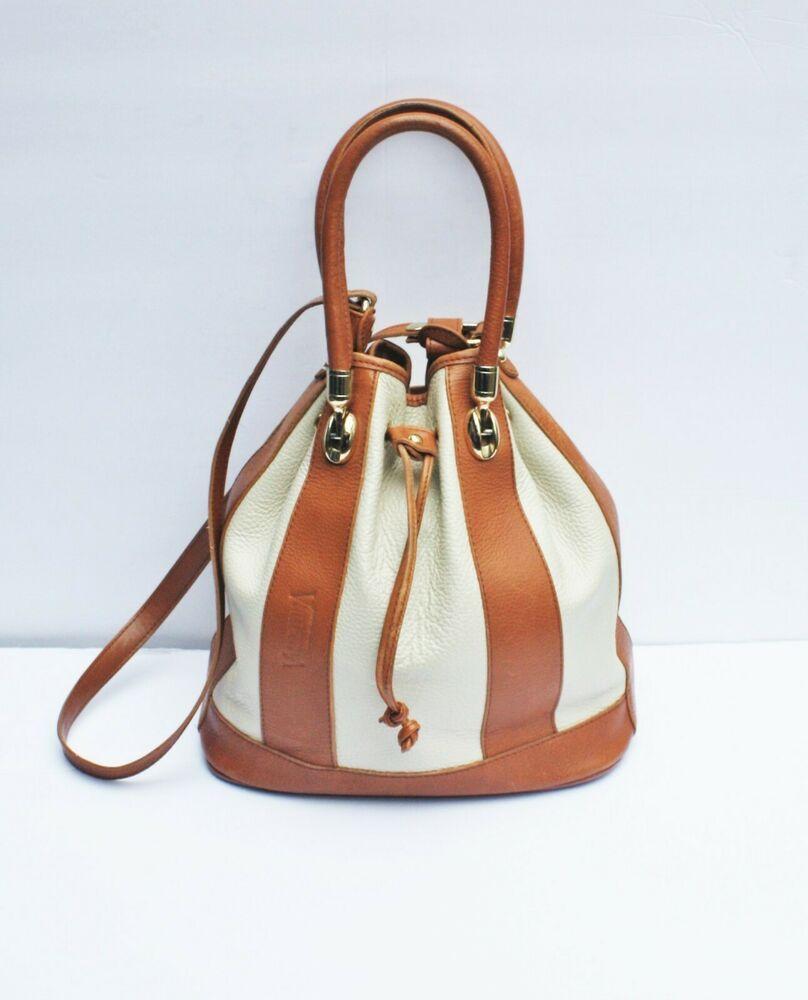 0d5eaf43abd30 VALENTINA DRAWSTRING BUCKET HANDBAG Tan Cream Leather Shoulder Bag ...