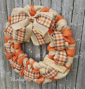 Fall Wreath, Autumn Wreath, Thanksgiving Wreath, Burlap Wreath, Autumn Burlap Wreath, Orange ...,  #Autumn #Burlap #Fall #fallwreathdiyautumn #Orange #Thanksgiving #Wreath