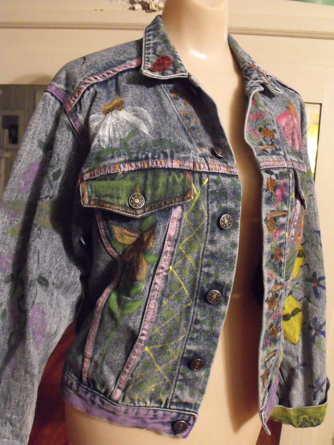 Decorated Denim Jacket Love The Hand Painting Sewing