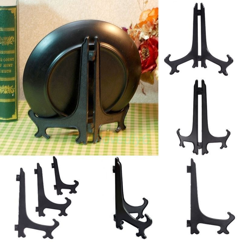 Black Plastic Plate Display Stand Picture Frame Easel Holder Kitchen ...