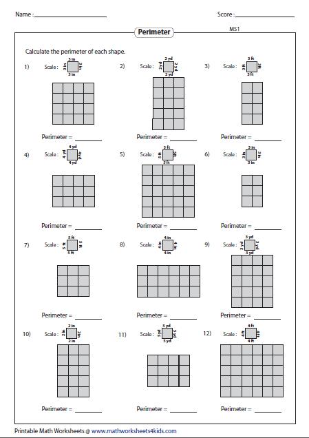 Find Perimeter Of Rectangular Grid Geometry Worksheets