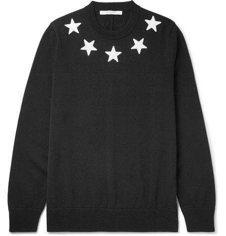 GIVENCHY Star-Appliquéd Cotton Sweater. #givenchy #cloth #knitwear
