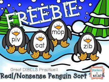 Freebie Real Nonsense Penguin Sort Dibles Review K 1