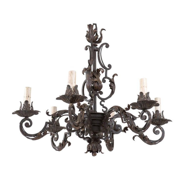 Italian Midcentury Forged Iron Chandelier Adorned With Scrolls And