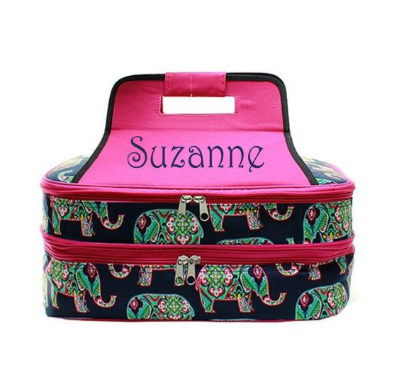 Personalized Casserole Carrier  Elephant  by MonogramMeByCenterCt