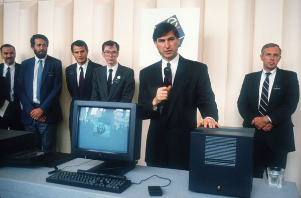 Steve Jobs introduces his new company NeXT computer system October - jobs that are left