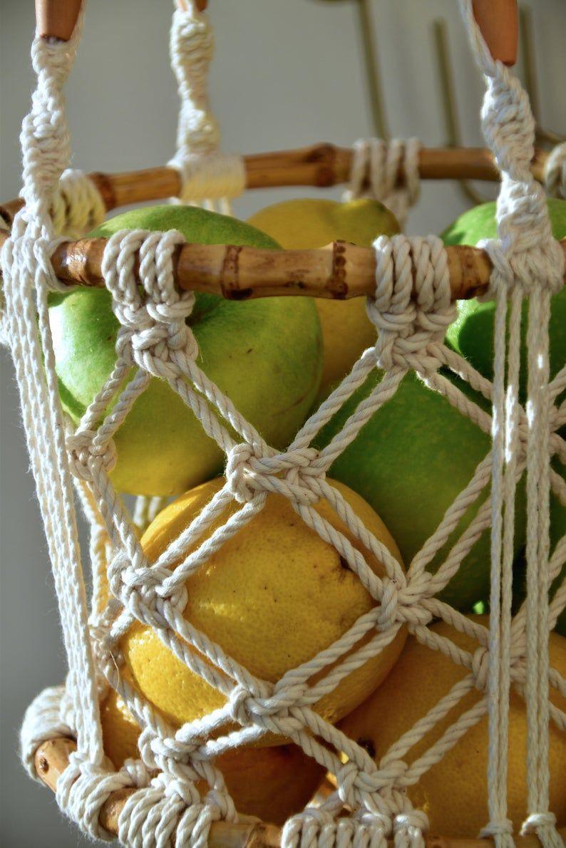 bamboo hanging fruit basket, vegetables storage, onion