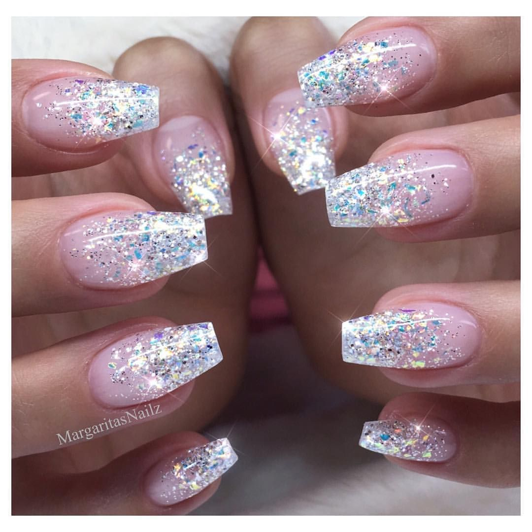 Glitter Ombr nails Winter design sparkly New Years ...